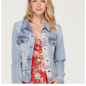 Roxy embroidered boho denim jacket size small